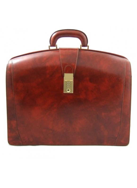 Pratesi Brunelleschi Big Briefcase for Laptop in cow leather - Radica Brown