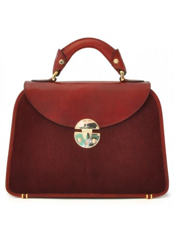 Pratesi Veneziano Small Cavallino Woman Bag in real leather - Cavallino Chianti
