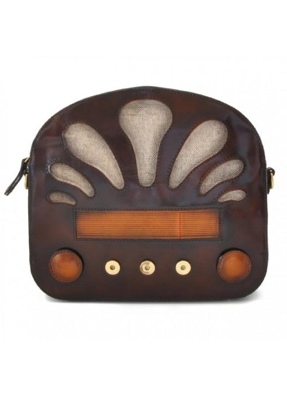 Pratesi Radio Days Santa Croce Shoulder Bag in real leather - Santa Croce Coffee