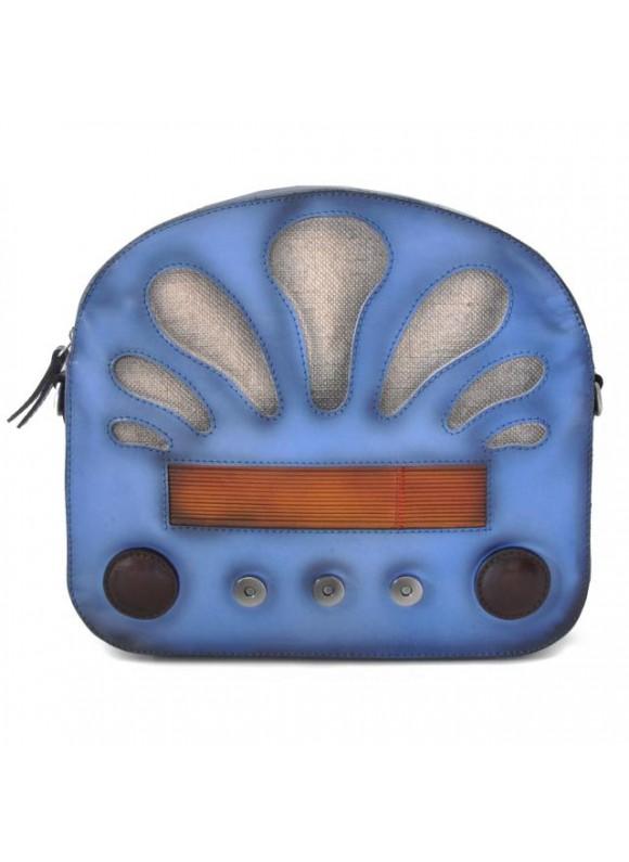Pratesi Radio Days Santa Croce Shoulder Bag in real leather - Santa Croce Sky-Blue