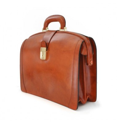 Pratesi Brunelleschi Medium Briefcase in cow leather - Radica Chianti