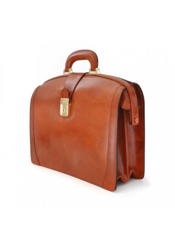 Pratesi Brunelleschi Medium Briefcase in cow leather - Radica Chianti