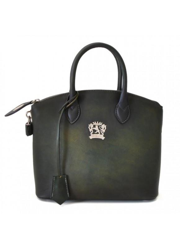 Pratesi Versilia Small Bruce Handbag in cow leather - Radica Dark Green