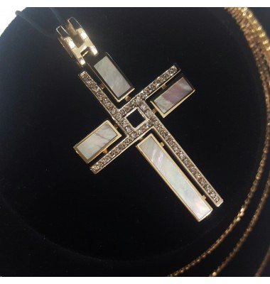 """Подвеска """"Крест"""" с бриллиантами и перламутром"""