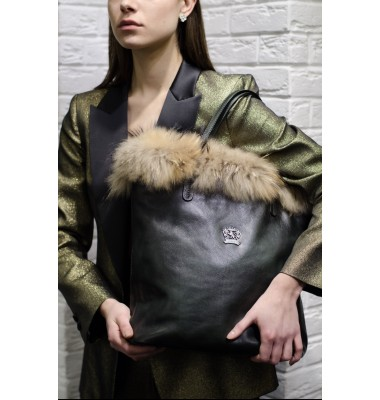Pratesi Monterchi Tote Bag in cow leather and fur - Bruce Dark Green