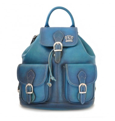 Pratesi Backpack Caporalino in cow leather - Bruce Blue