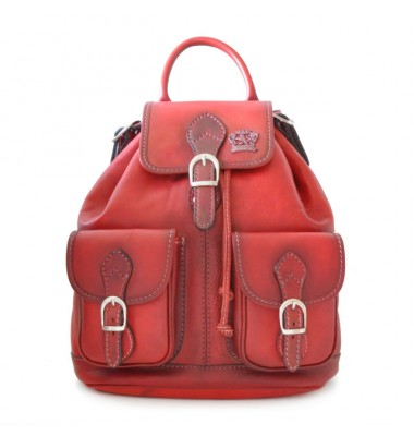 Pratesi Backpack Caporalino in cow leather - Bruce Cherry