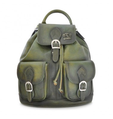 Pratesi Backpack Caporalino in cow leather - Bruce Dark Green