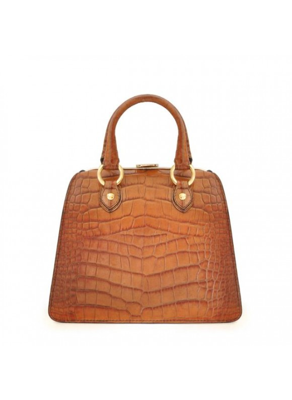 Pratesi Saturnia Small King Handbag in cow leather - King Cognac