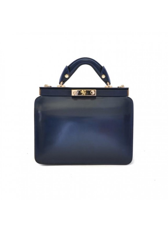Pratesi Vittoria Colonna Lady Bag in cow leather - Radica Blue