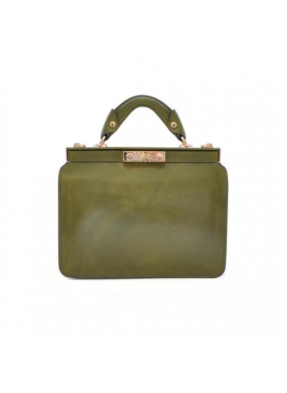 Pratesi Vittoria Colonna Lady Bag in cow leather - Bruce Dark Green