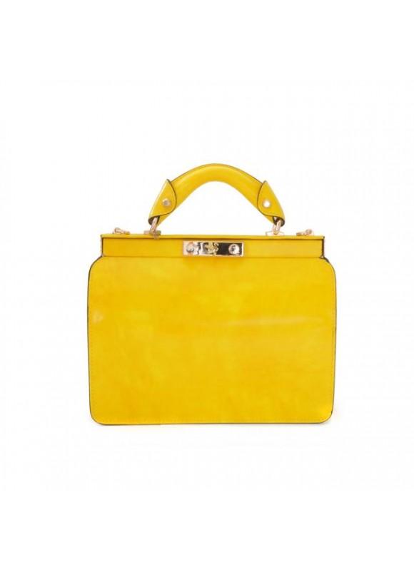Pratesi Vittoria Colonna Lady Bag in cow leather - Radica Yellow