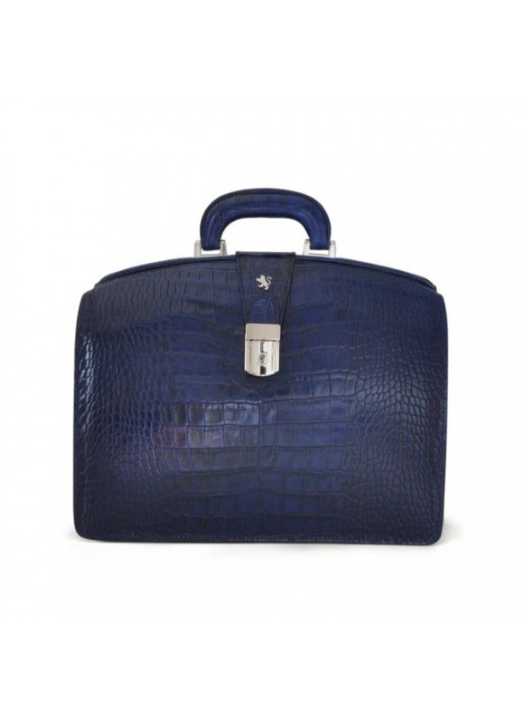 Pratesi Brunelleschi Small King Briefcase in cow leather - King Blue