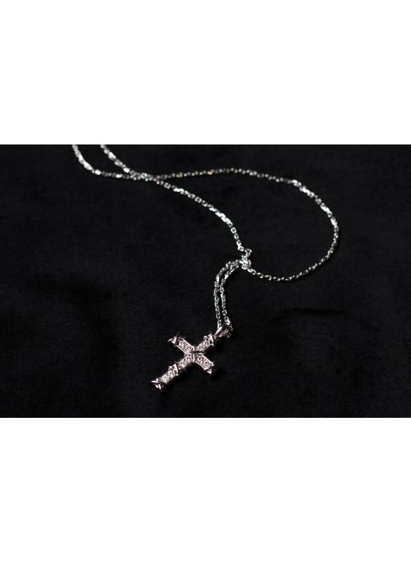 Крестик дизайнерский с белыми бриллиантами