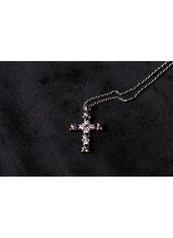 Крестик дизайнерский с бриллиантами и синим корундом