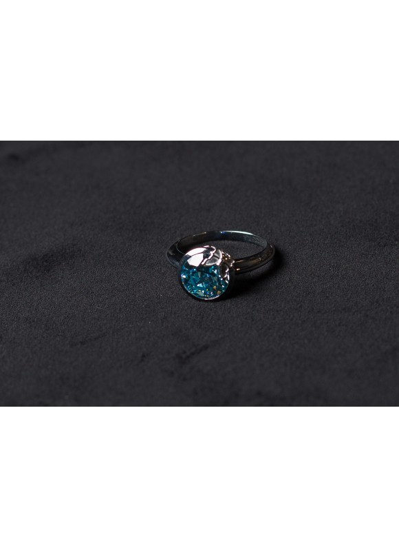 Кольцо дизайнерское с голубым топазом