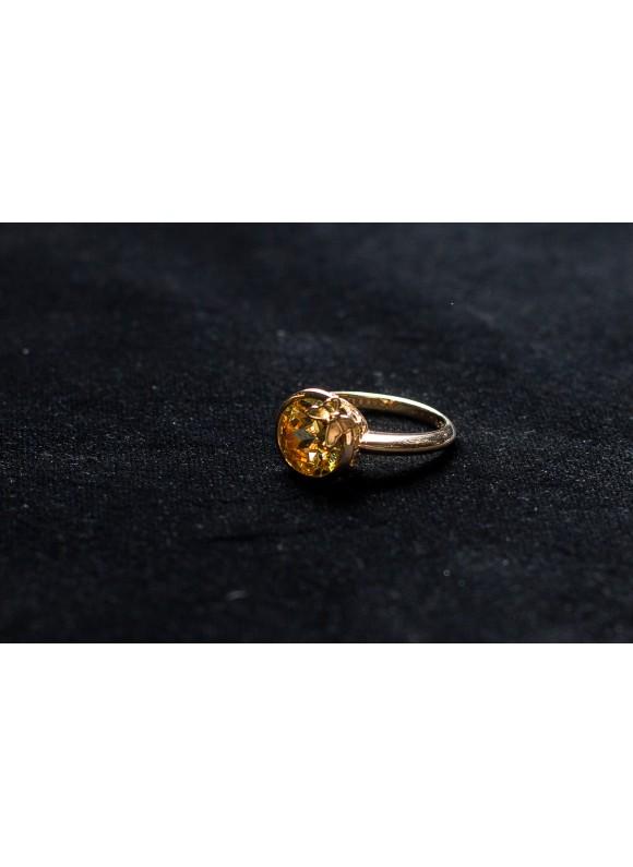 Кольцо дизайнерское с желтым хризолитом