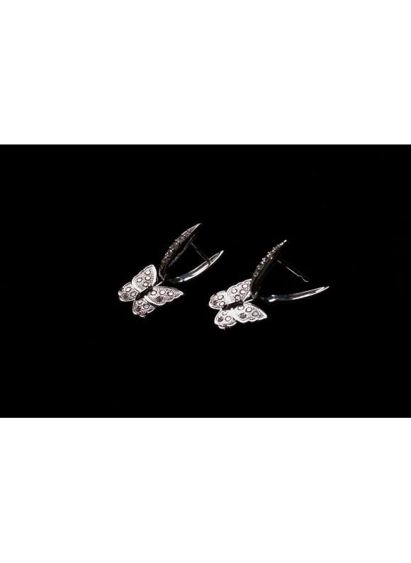 Серьги дизайнерские с бриллиантами Белая Бабочка