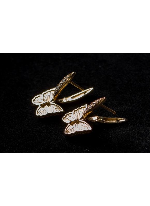 Серьги дизайнерские с бриллиантами Желтая Бабочка