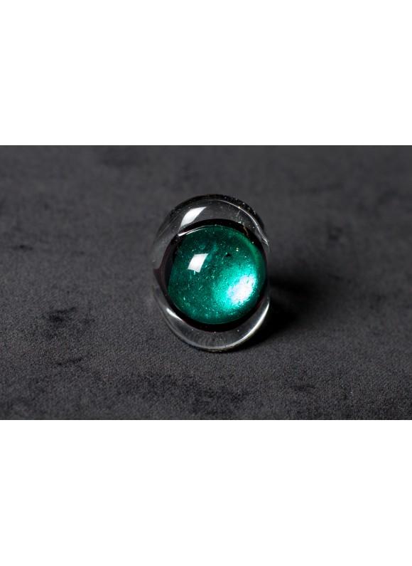 Кольцо из муранского стекла бирюза