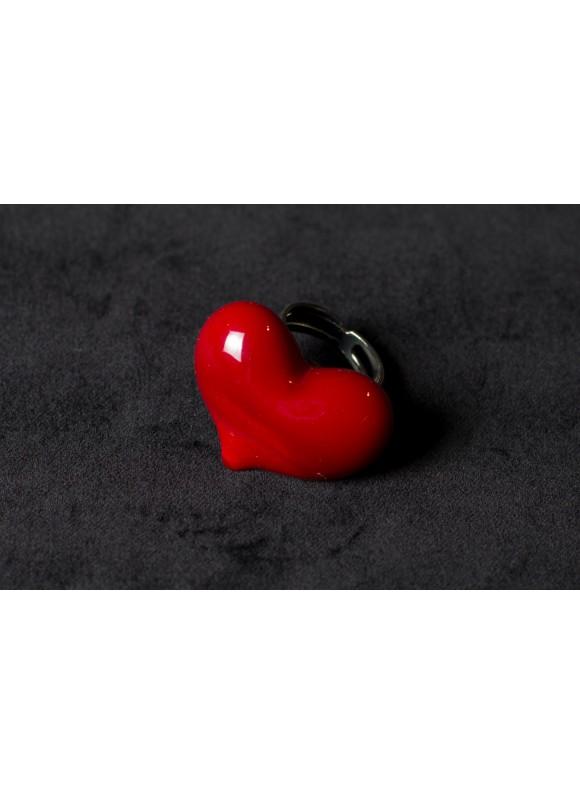 Кольцо из муранского стекла Красное сердце