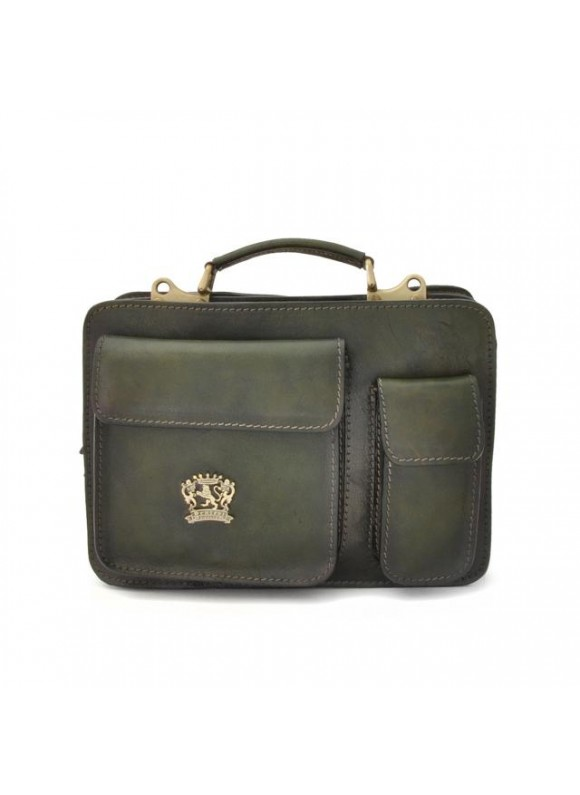 Pratesi Business Bag Milano Small in cow leather - Bruce Dark Green
