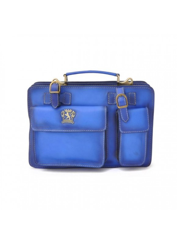 Pratesi Business Bag Milano Small in cow leather - Bruce Electric Blue