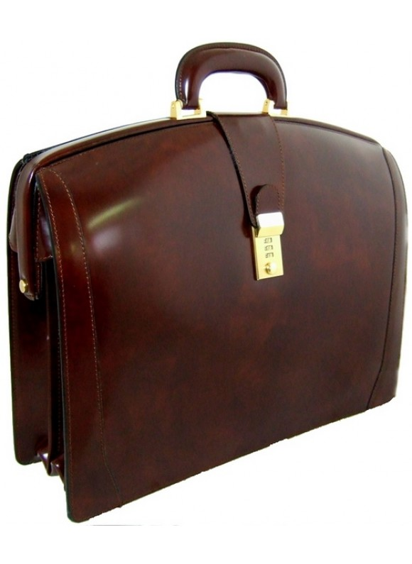 Pratesi Brunelleschi Briefcase in cow leather - Radica Coffee