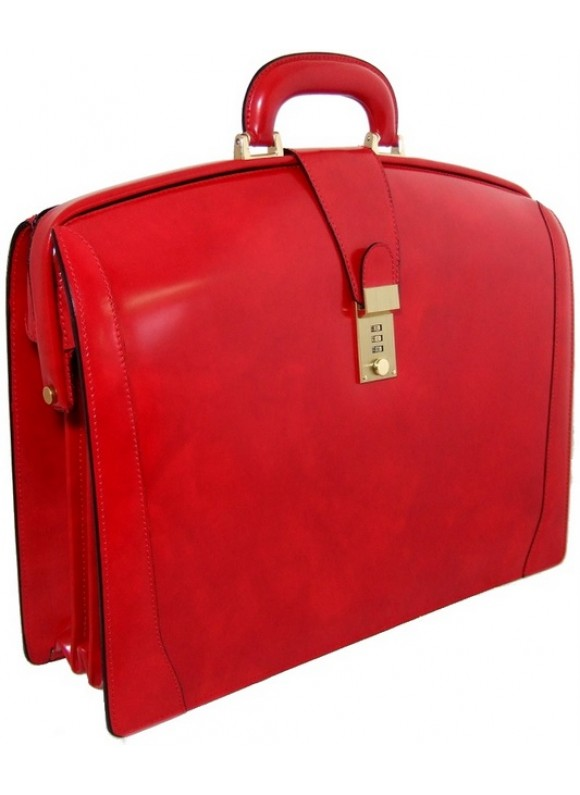 Pratesi Brunelleschi Briefcase in cow leather - Radica Cherry