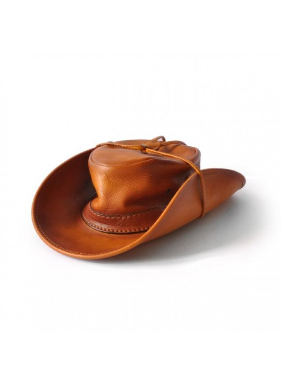 Pratesi Cagliostro Hat 57 cm in cow leather - Bruce Cognac