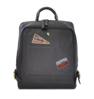 Pratesi Firenze Laptop Backpack in cow leather - Bruce Black