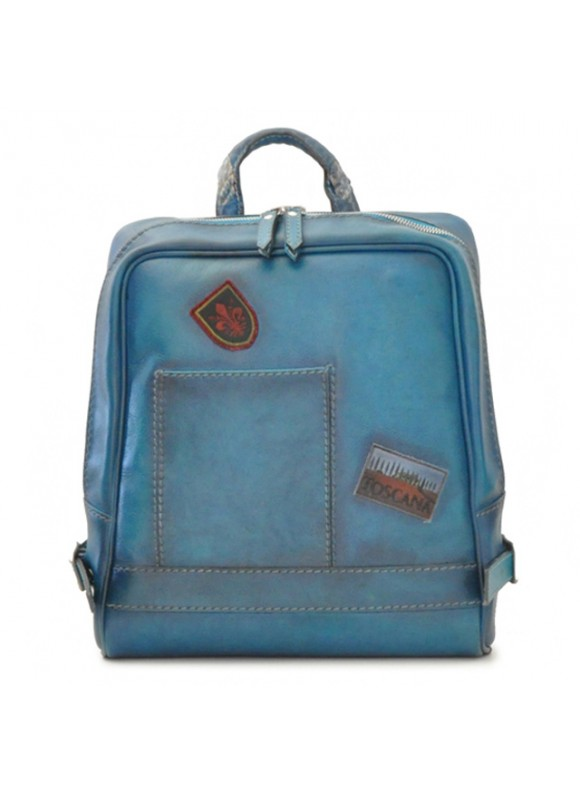 Pratesi Firenze Laptop Backpack in cow leather - Bruce Blue