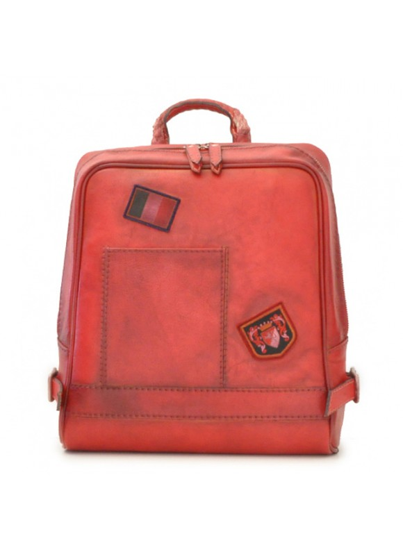 Pratesi Firenze Laptop Backpack in cow leather - Bruce Cherry