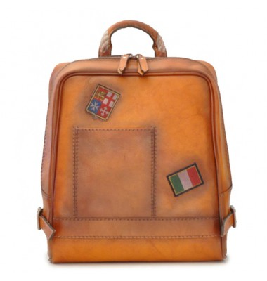 Pratesi Firenze Laptop Backpack in cow leather - Bruce Cognac