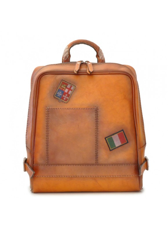 Pratesi Firenze Laptop Backpack in cow leather - Bruce Cognac