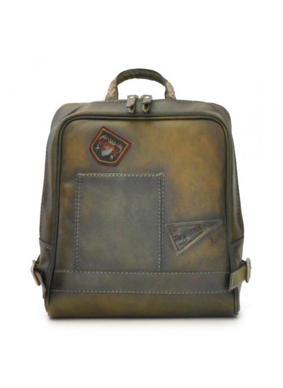 Pratesi Firenze Laptop Backpack in cow leather - Bruce Dark Green