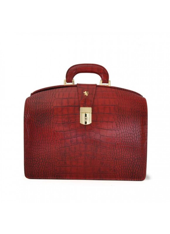 Pratesi Brunelleschi Small King Briefcase in cow leather - King Cherry