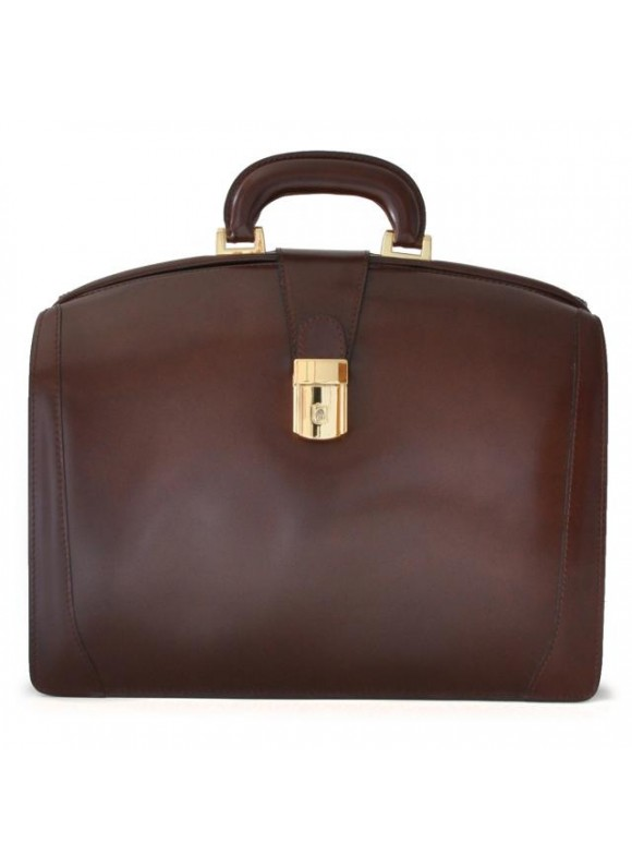 Pratesi Brunelleschi Medium Briefcase in cow leather - Radica Coffee
