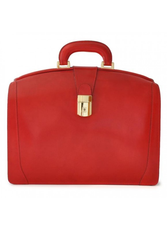 Pratesi Brunelleschi Medium Briefcase in cow leather - Radica Cherry