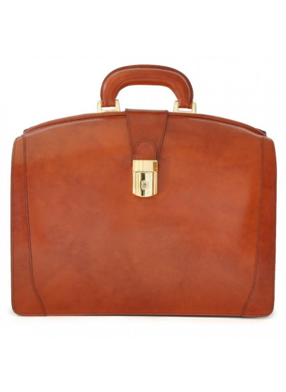 Pratesi Brunelleschi Medium Briefcase in cow leather - Radica Brown