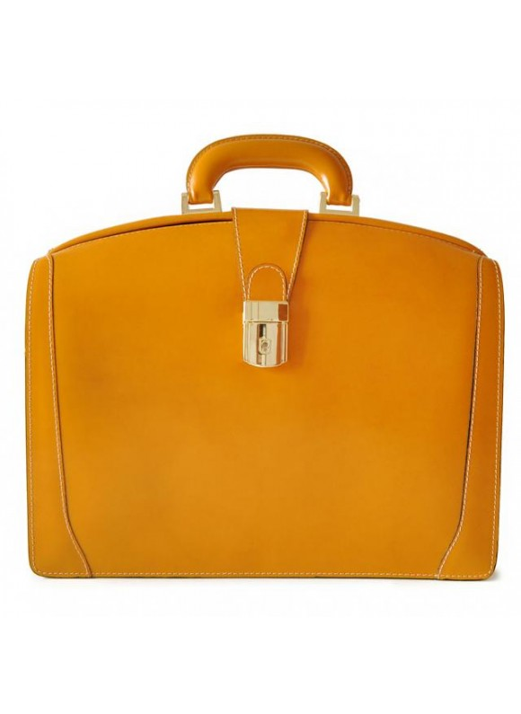 Pratesi Brunelleschi Medium Briefcase in cow leather - Radica Mustard