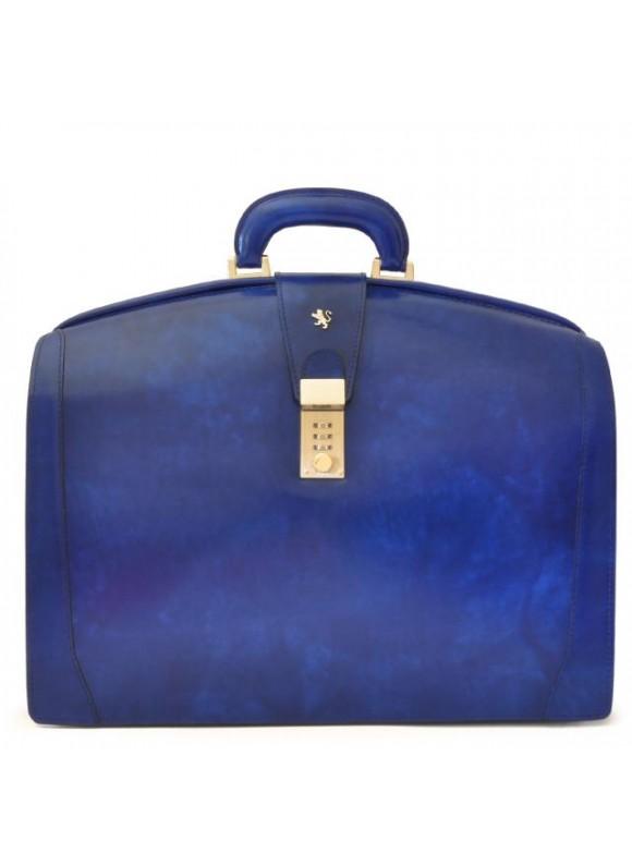 Pratesi Brunelleschi Big Briefcase for Laptop in cow leather - Radica Electric Blue