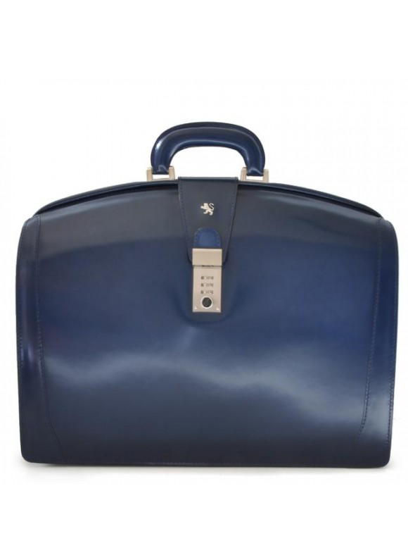 Pratesi Brunelleschi Big Briefcase for Laptop in cow leather - Radica Blue