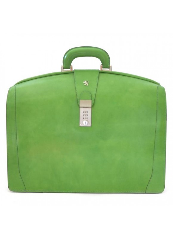 Pratesi Brunelleschi Big Briefcase for Laptop in cow leather - Radica Green