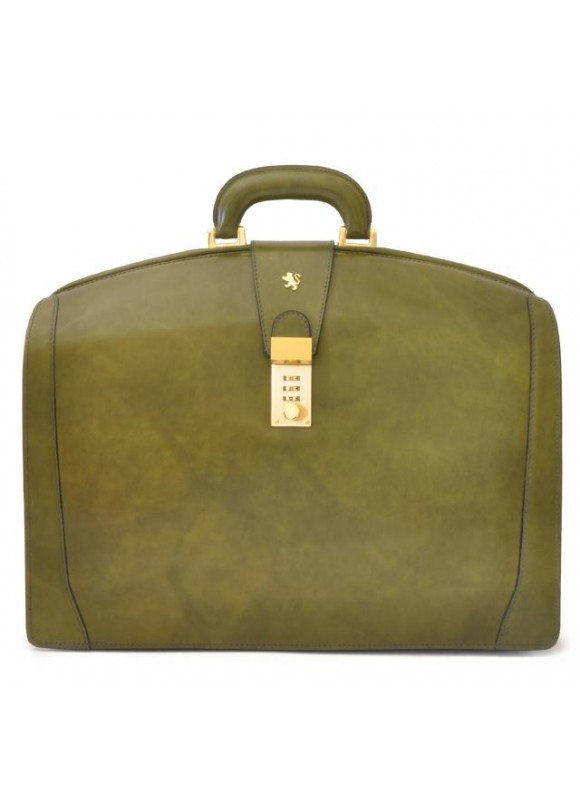 Pratesi Brunelleschi Big Briefcase for Laptop in cow leather - Radica Dark Green