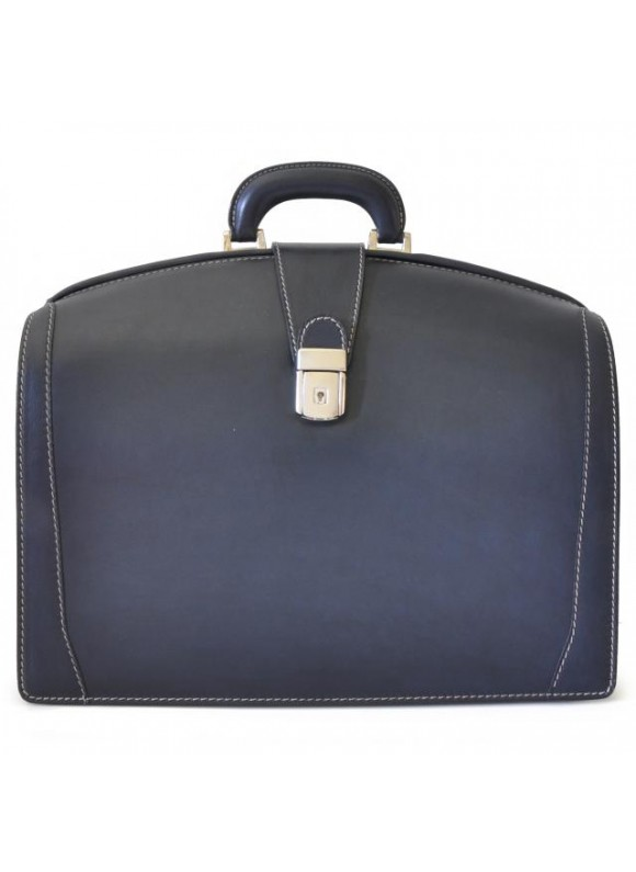 Pratesi Briefcase for Laptop Brunelleschi Bold in cow leather - Bruce Blue