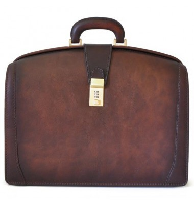 Pratesi Briefcase for Laptop Brunelleschi Bold in cow leather - Bruce Coffee