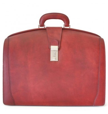 Pratesi Briefcase for Laptop Brunelleschi Bold in cow leather - Bruce Cherry