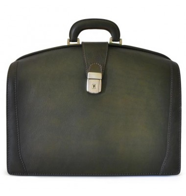 Pratesi Briefcase for Laptop Brunelleschi Bold in cow leather - Bruce Dark Green