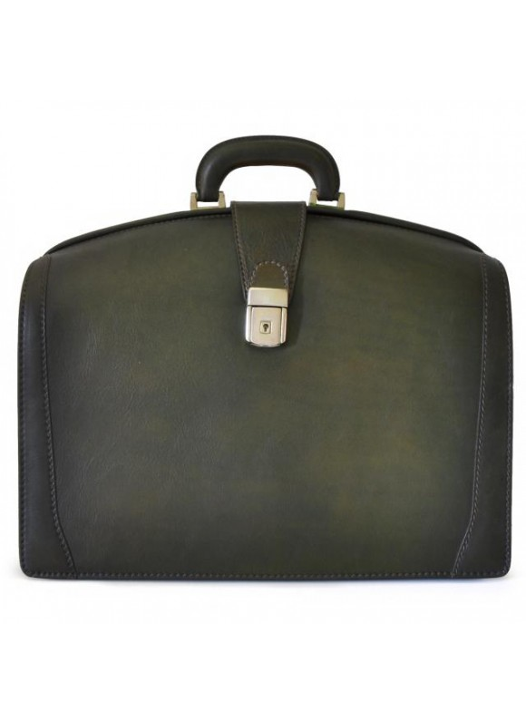 Pratesi Briefcase for Laptop Brunelleschi Bold in cow leather - Bruce Dark Green